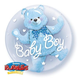 Folieballon Baby Blue Bear – Double Bubble 60 cm