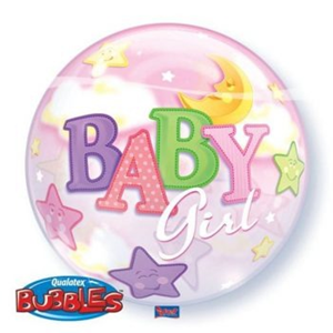 Folieballon Geboorte Girl Moon & Stars 56 cm