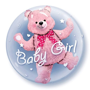 Folieballon Baby Pink Bear – Double Bubble 60 cm
