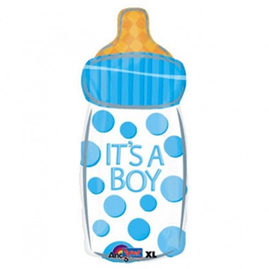 Folieballon Blauwe Babyfles Its A Boy 60 cm