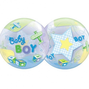 Folieballon Geboorte Baby Boy Bubble Airplanes 56 cm