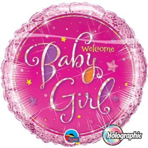 Folieballon Geboorte Welcome Baby Girl 45 cm