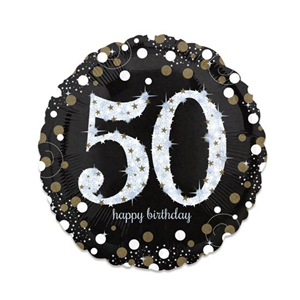 Folieballon birthday sparkling 50 (73cm)