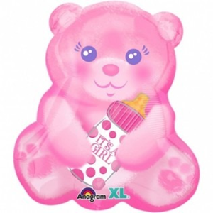 Folieballon Geboorte Bear it's a girl 45 cm