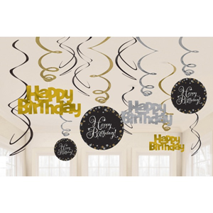 Gouden Glitterfeest Happy Birthday Hangende Swirls - 45 cm