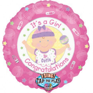 Folieballon Its A Girl Sing-A-Tune 71 cm