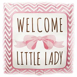Folieballon Geboorte Meisje Welcome Little Lady 46 cm