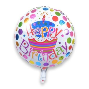Folieballon Happy Birthday taart 45 cm