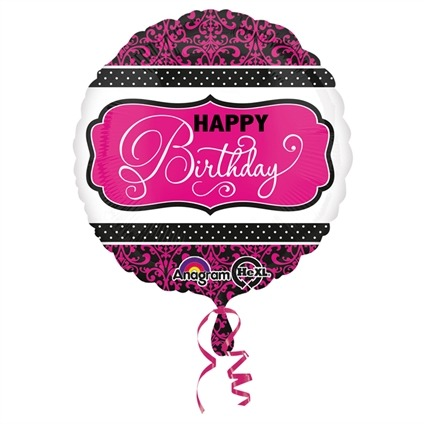 Folieballon 'HBD' Pink & Black 45 cm