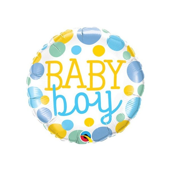 Folieballon Baby Boy Dots 45 cm